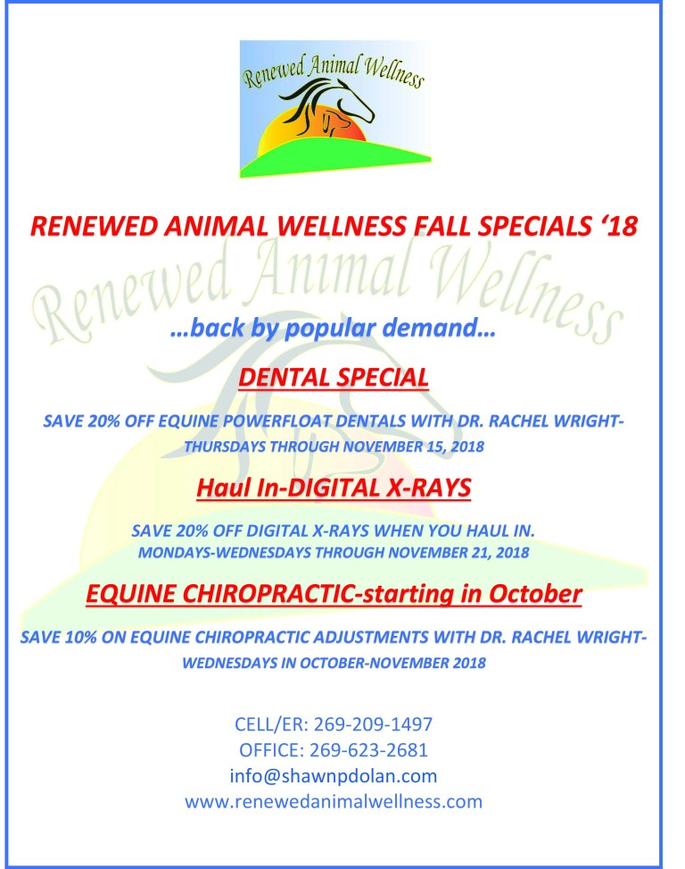 RENEWED ANIMAL WELLNESS FALL SPECIALS 2018