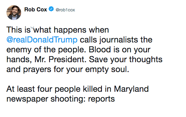 This is what happens when @realDonaldTrump calls journalists the enemy of the people. Blood is on your hands, Mr. President. Save your thoughts and prayers for your empty soul. At least four people killed in Maryland newspaper shooting: reports