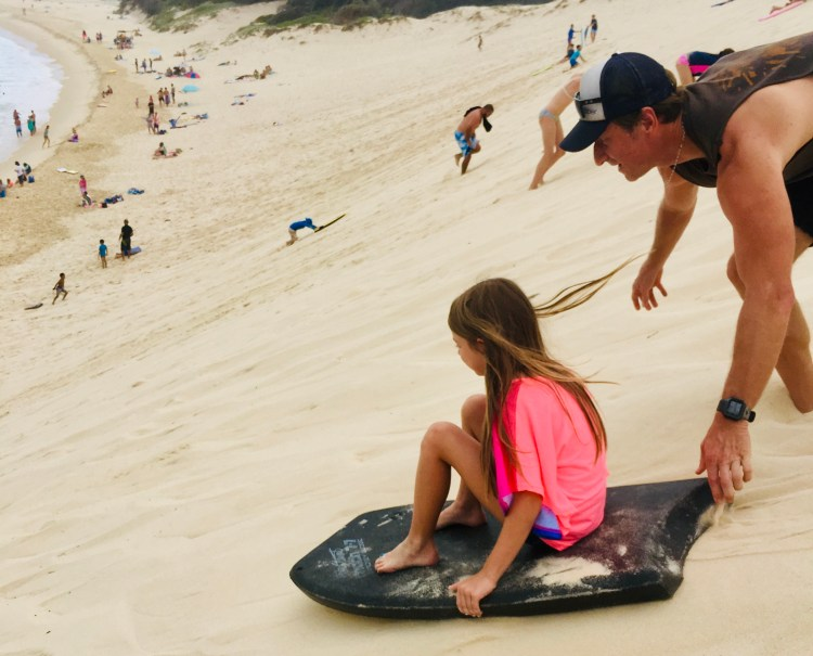 Lili and I sandboarding Forster sand dune. fit over 40
