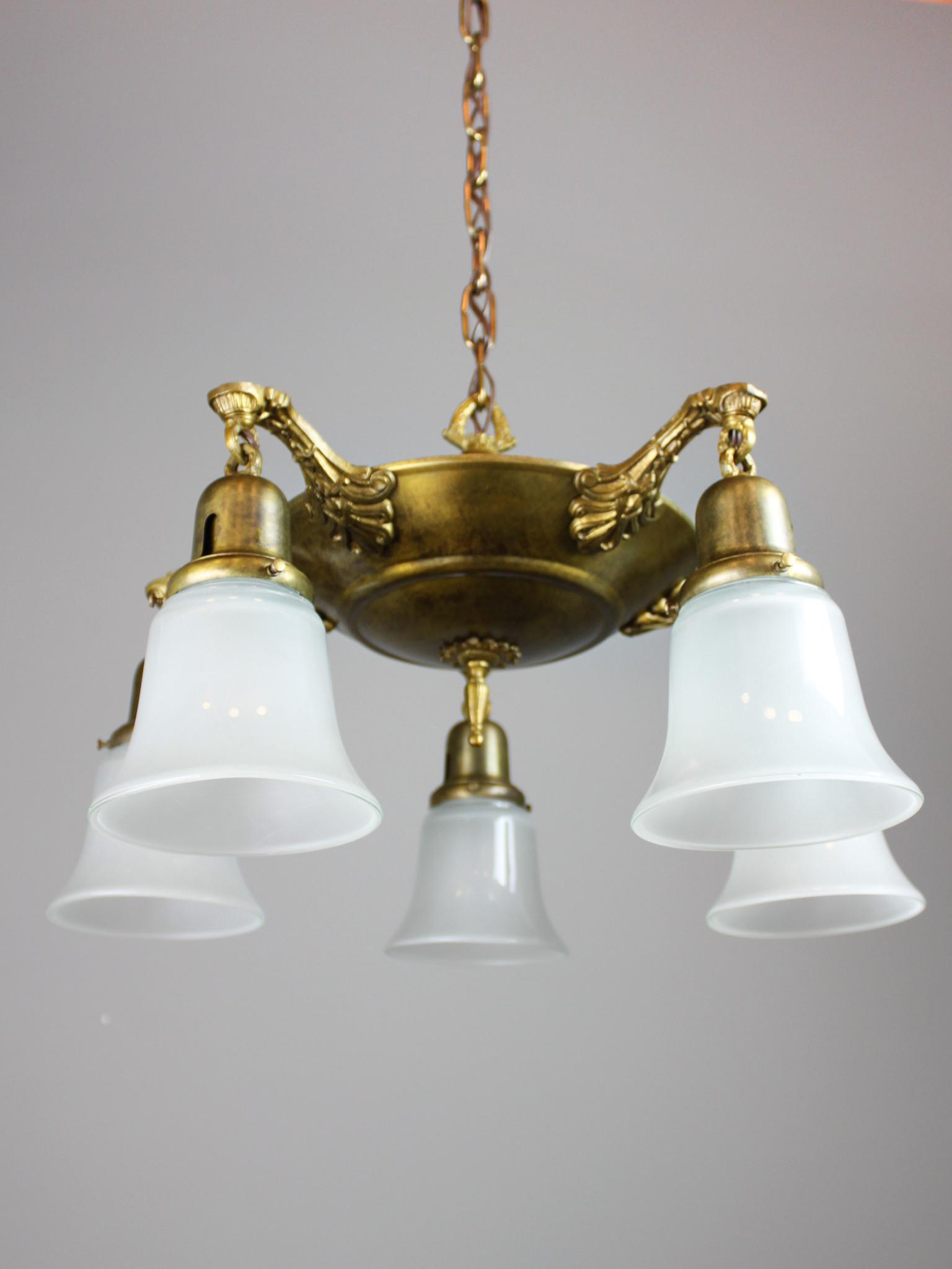 Antique Pan Light Fixture 5 Light