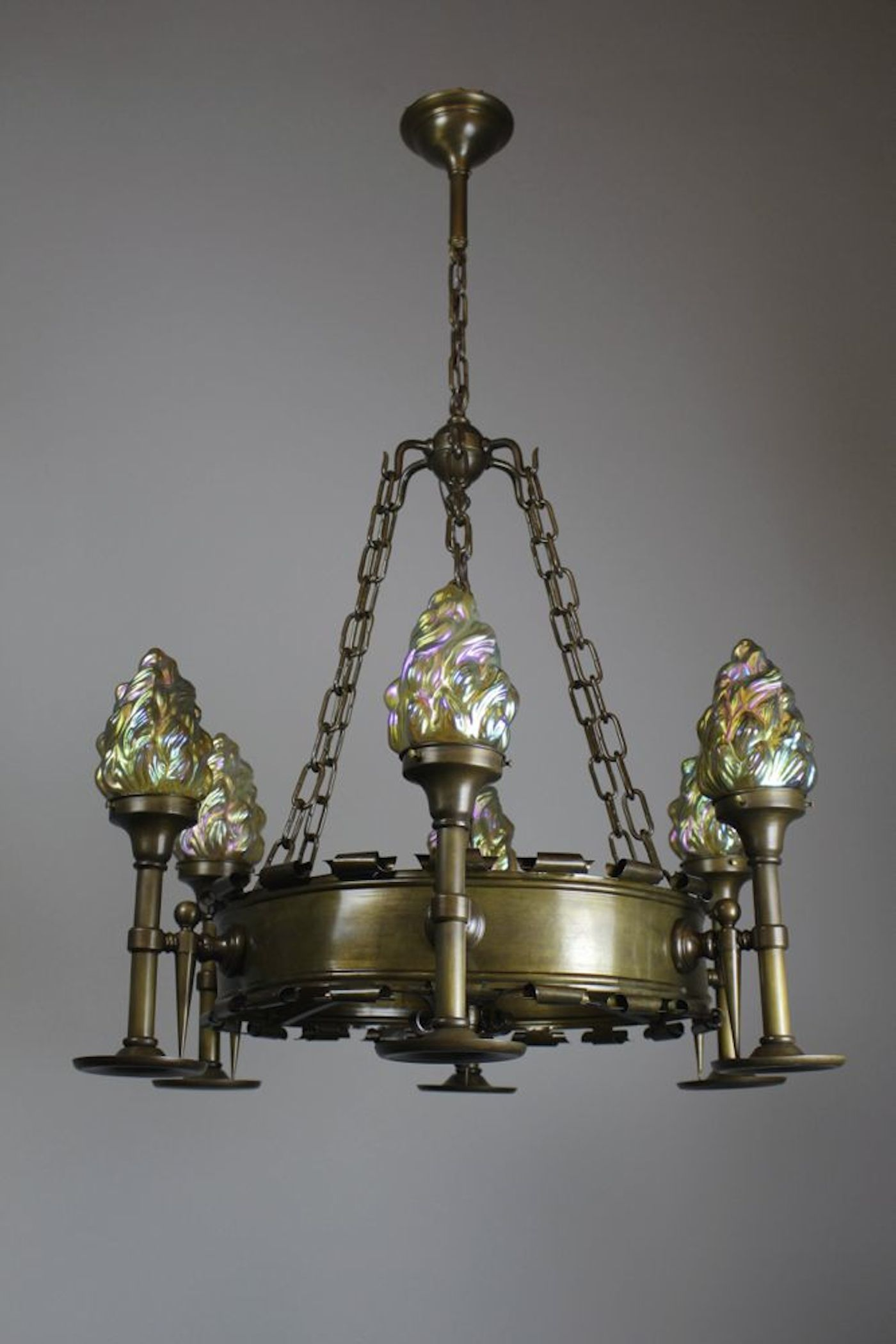 Early Tudor Revival Ring Fixture 6 Light