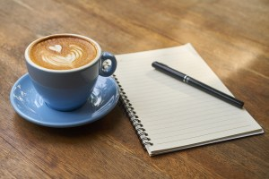 cup, saucer, coffee, journal, pen