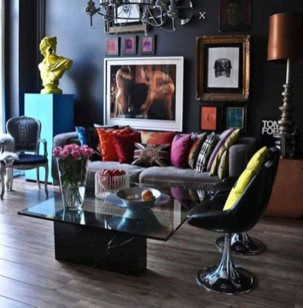 Dark Living Room Design For Home Decor 37