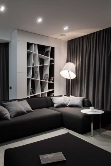 Dark Living Room Design For Home Decor 41