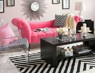Pink And Gray Modern Living Room Decor 02