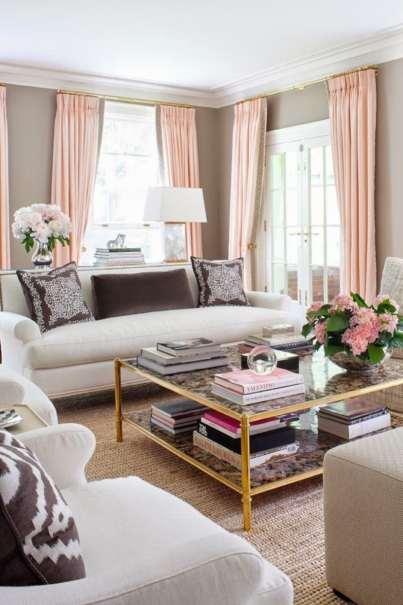 Pink And Gray Modern Living Room Decor 06