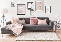 Pink And Gray Modern Living Room Decor 13