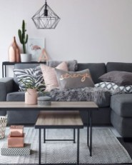 Pink And Gray Modern Living Room Decor 19
