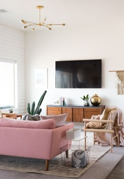 Pink And Gray Modern Living Room Decor 20