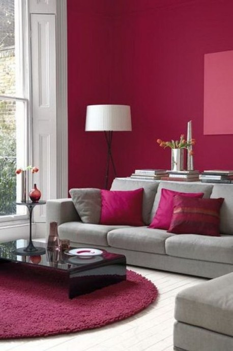 Pink And Gray Modern Living Room Decor 23