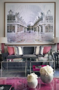 Pink And Gray Modern Living Room Decor 24