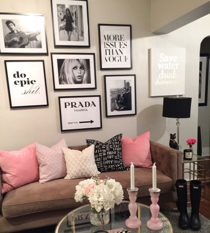 Pink And Gray Modern Living Room Decor 29