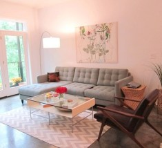 Pink And Gray Modern Living Room Decor 30