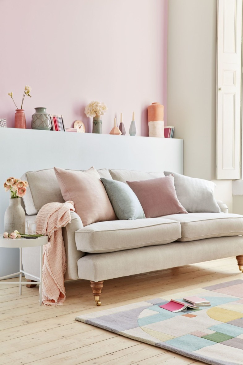 Pink And Gray Modern Living Room Decor 33