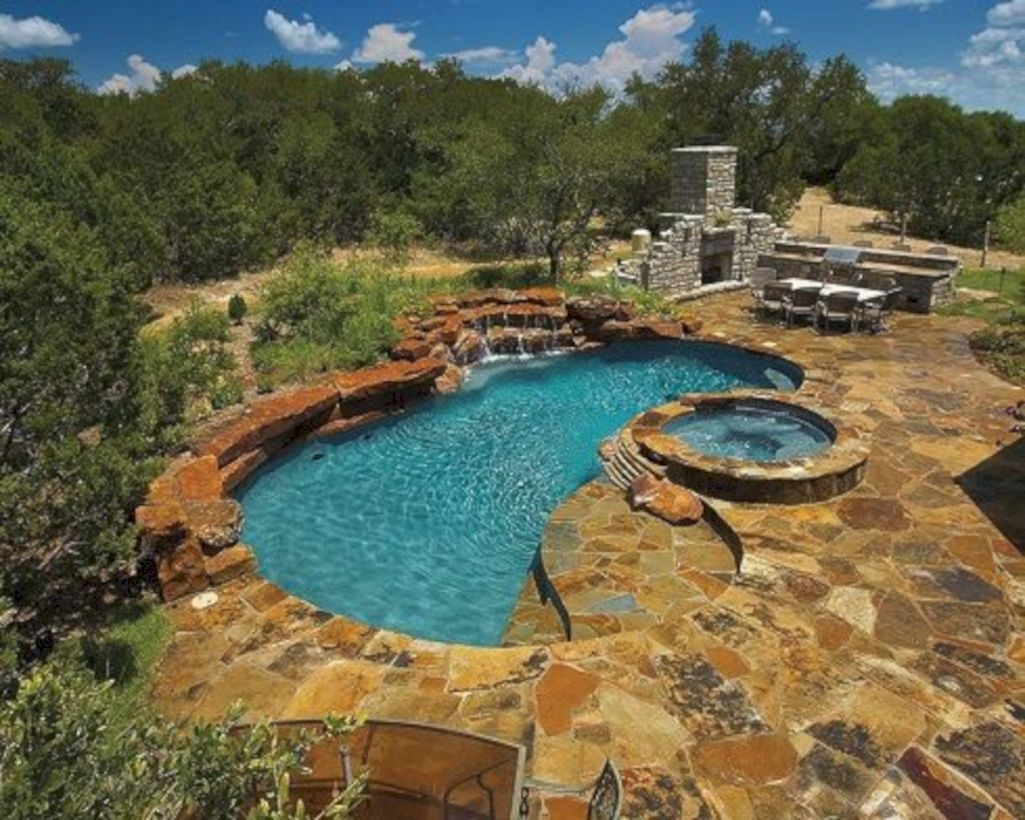 Style Swimming Pool With Natural Stone Tiles 11