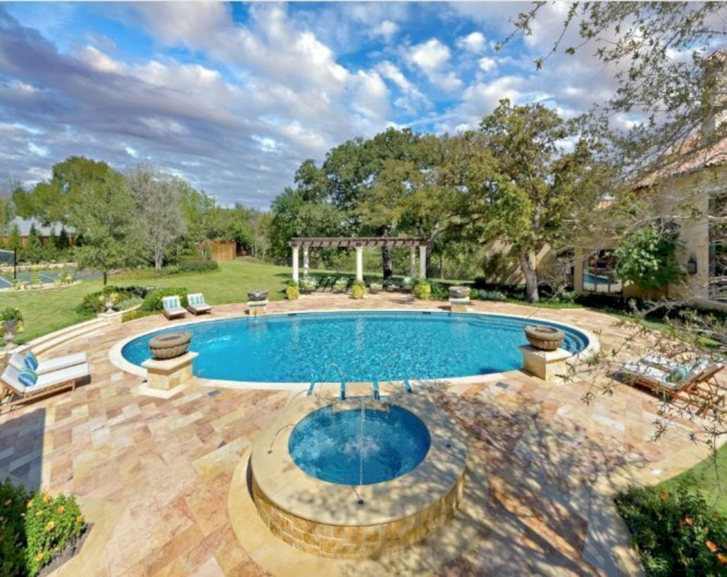 Style Swimming Pool With Natural Stone Tiles 17