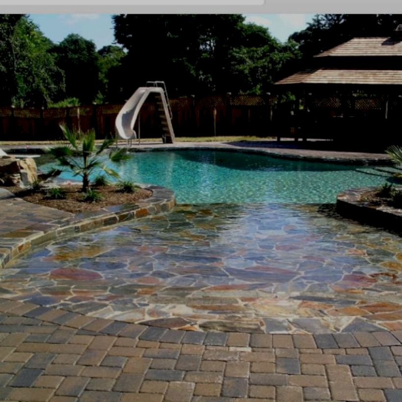 Style Swimming Pool With Natural Stone Tiles 22