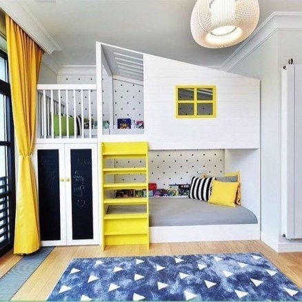 Yellow Bedroom For Your Child's Room Idea To Sleep Feels Warm 48