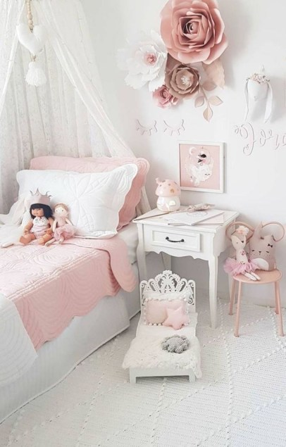 Cozy Teen Bedroom Decoration On Pink Style 04