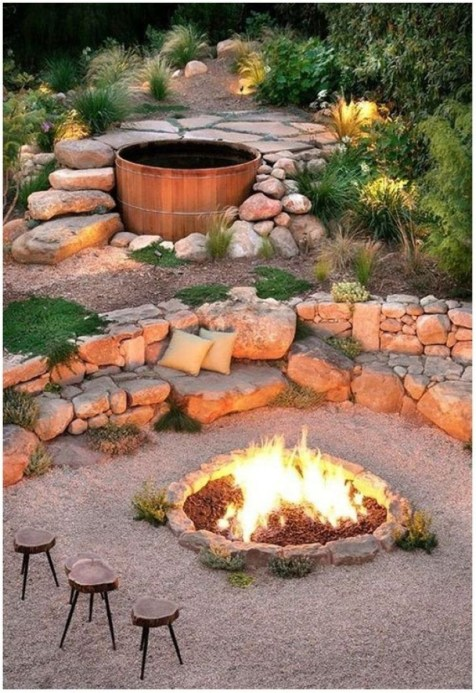 How To Make DIY Fire Pit In Garden With Low Budget 26