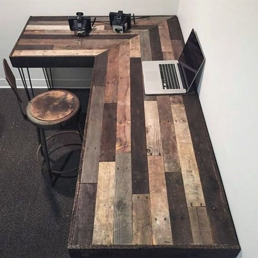 44 Modern Rustic Decorating Ideas For Your Home Office 02