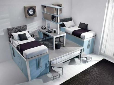 Amazing Double Bed For Teen College Bedroom 03