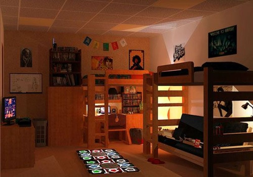 Awesome Dorm Room Decoration With Double Bed 09