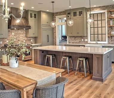 Farmhouse Kitchen Decorating Ideas With Wooden Cabinet 17