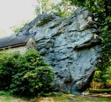 Close view of the huge rock formation that is part of the church