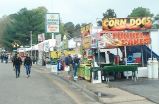 Food is the constant theme along the festival streets.