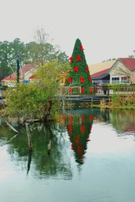 Holiday decorations at Barefoot Landing