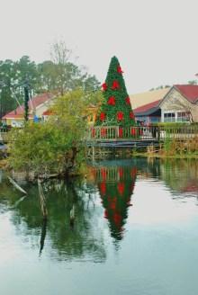 Holiday decorations at Barefoot Landing