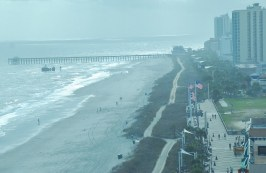 The view from the top of the SkyWheel looking south down the boardwalk to the 2nd street pier.