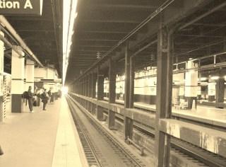 30th Street Station, Passenger Platform, 2011, railroad, tracks, station, passengers, black and white, Philidelphia,