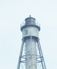 The range light had a steady white or red light. It does not rotate like a regular lighthouse.
