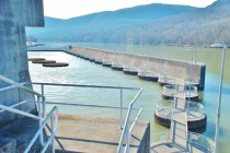 """The """"deflector shields"""" that slow the flow of water into the Tennessee River when the power plant is generating."""