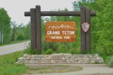 The Grand Teton marker on the road from Riverside Campground to the entrance to the Grand Tetons and Yellowstone.