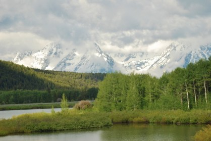 Finally, we were getting glimpses of the tops of the Grand Tetons as we drove toward Yellowstone.