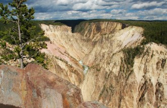 The steep-sided V-shaped Grand Canyon of Yellowstone is a breathtaking sight.