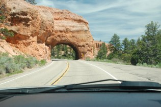 Arch cut in rock for US Rt 89 to Bryce City--Part of Red Canyon