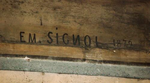 Signature anormale d'Emile Signol, le N est à l'envers - Saint-Sulpice de Paris