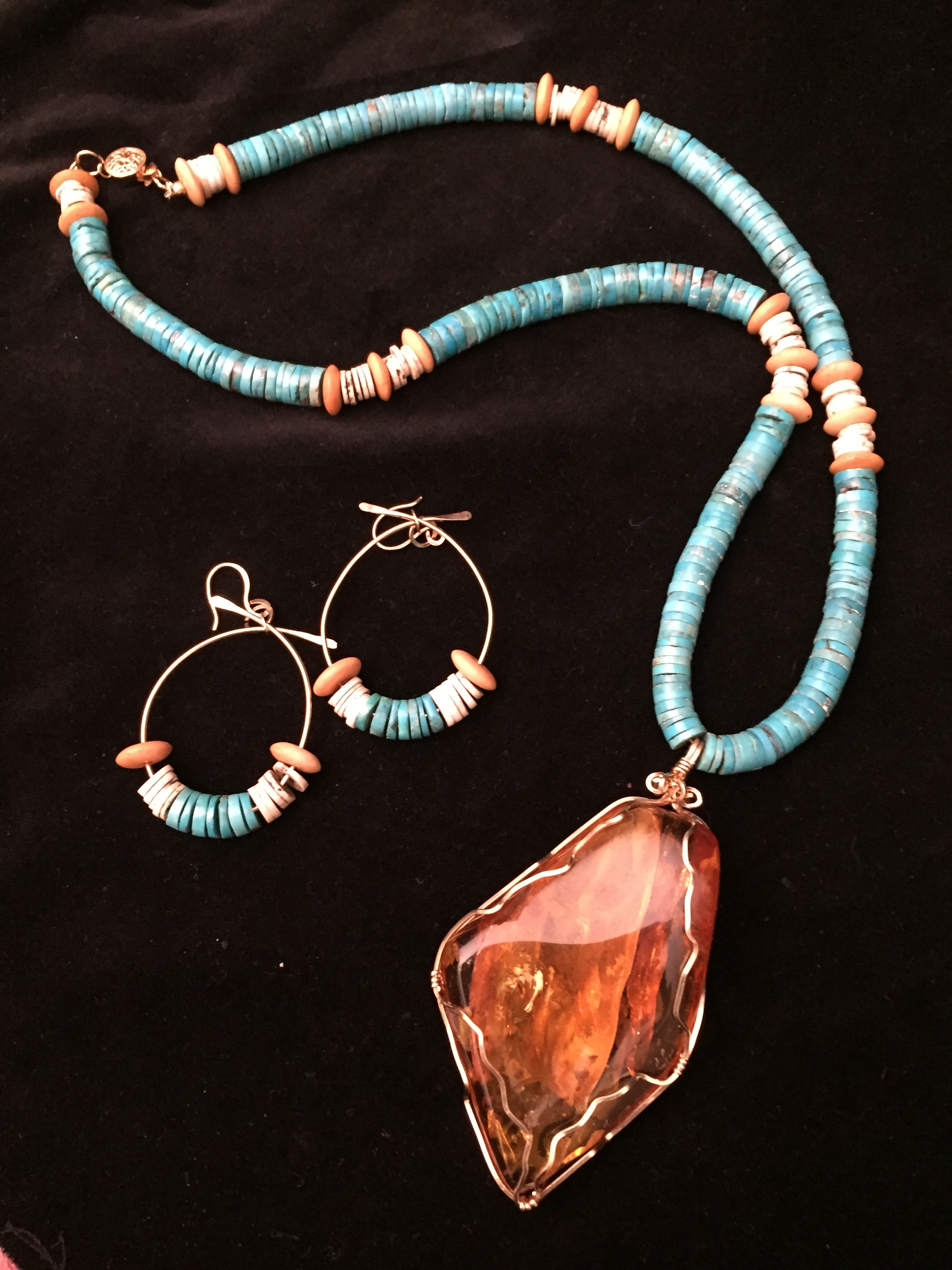 Kathleen Hallamore-Best Amber with Turquoise and Bone