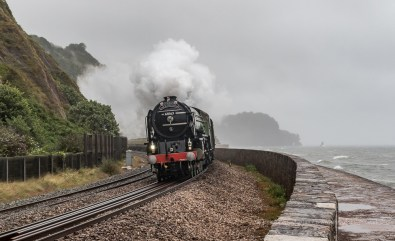 The steam train passing through Teingnmouth