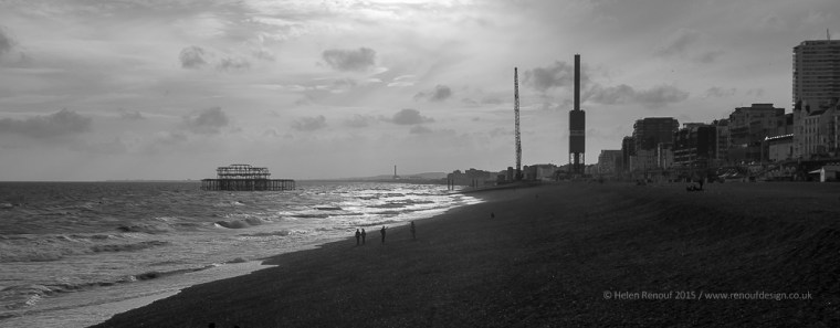 The old pier and the start of the new build - a lamdscape of contrast