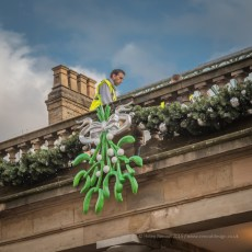 Putting up the lights at Convent Gardens