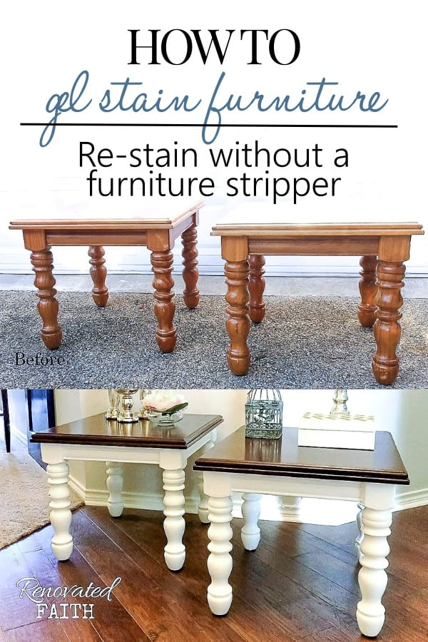 two side tables with stained tops