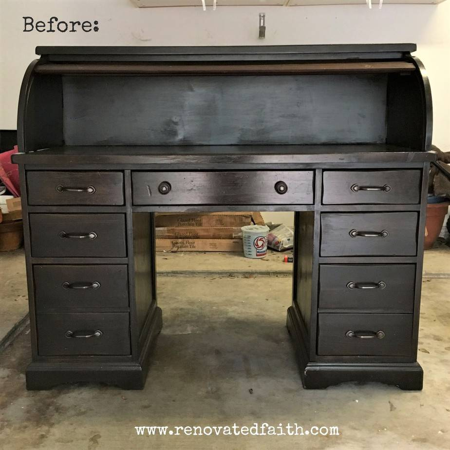 i knew i was going to sell this piece so i decided to do the surface a dark stain using my gel stain method and would paint the rest white - Rolltop Desk