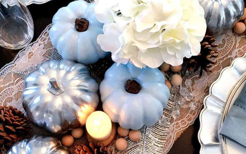 Easy DIY Thanksgiving Tablescape with Blue Pumpkins {When God Changes Your Plans}