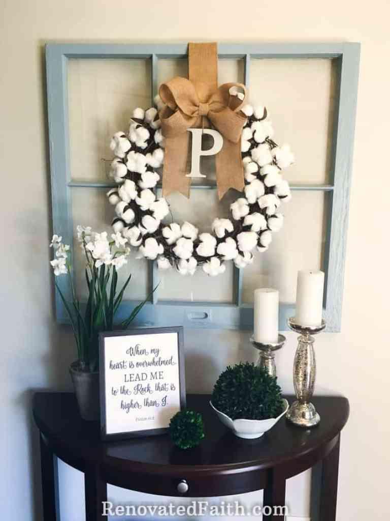DIY Cotton Wreath For Less Than $10! #farmhousedecor #cottonwreath #cotton #renovatedfaith