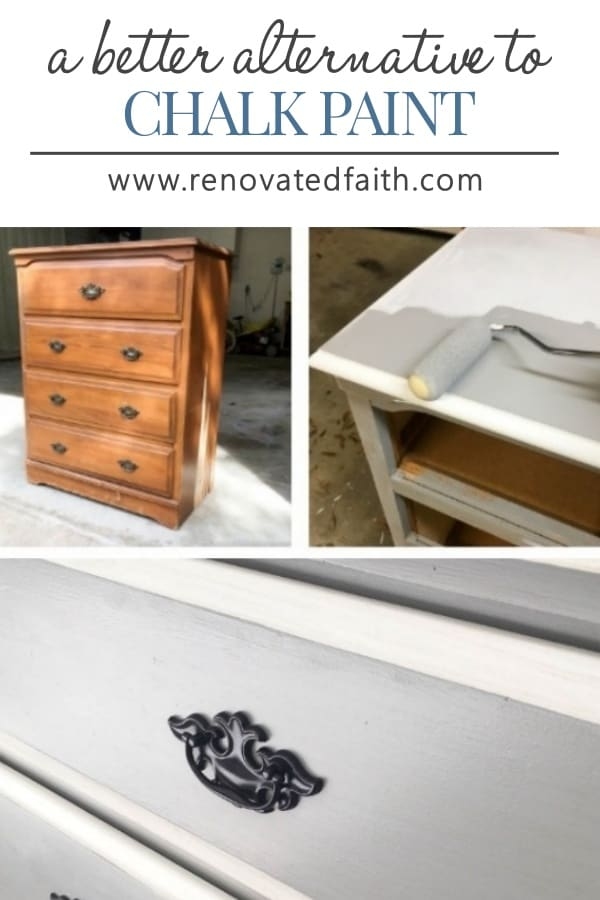 dresser being paint with a roller and gray paint